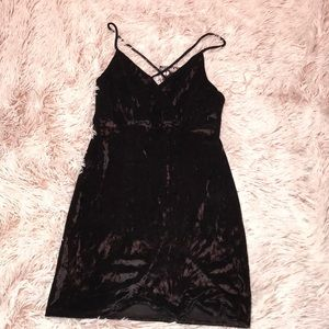 Black mini velvet dress